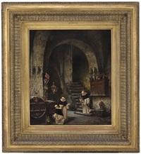 monks in a wine cellar by vincent stoltenberg-lerche