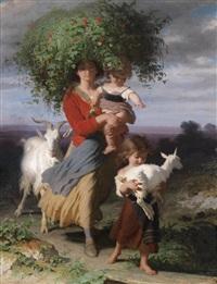 mutter mit kindern am heimweg by alfred van (jacques) muyden