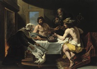 the peasants philemon and baucis visited by jupiter and mercurius by jan van den hoecke