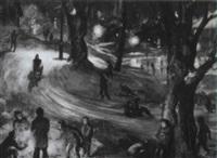 children sledding at night by john pike