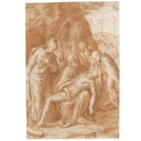 the lamentation with saint catherine of alexandria, gabriele quintiano and possibly the prophets elijah and elisha (study) by bernardino campi