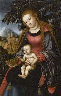 madonna mit kind in einer landschaft by lucas cranach the younger