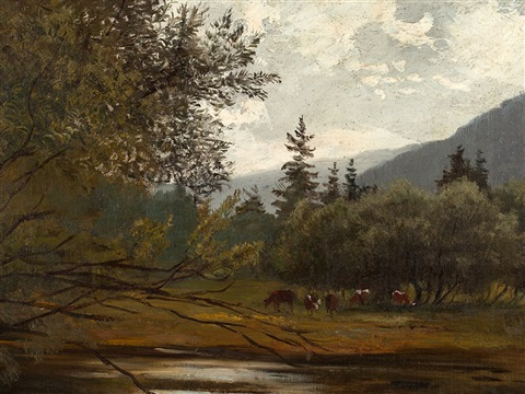 cows at the river by hans schleich
