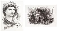 volto di donna e casa nel bosco (2 works) by pietro annigoni