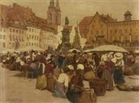 market scene by johann nepomuk geller