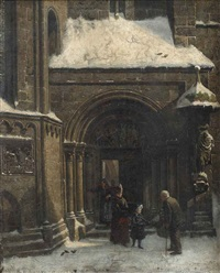 giving to the poor at the balduskirche, nuremberg by wilhelm ritter