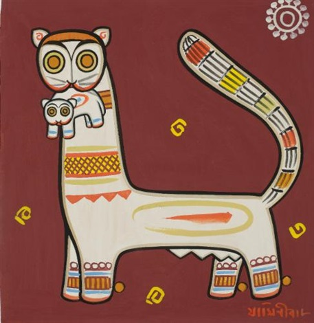 untitled cats by jamini roy
