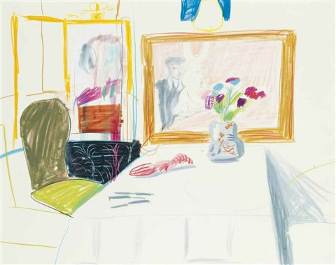 interior of odins restaurant by david hockney