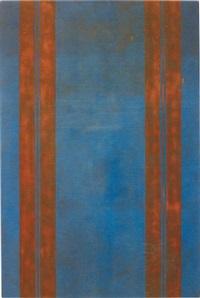 untitled (canopy painting: blue and orange v) by fredrik vaerslev