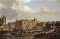 numerous figures on a quay near the geldersekade, amsterdam by johannes jacobus antonius hilverdink
