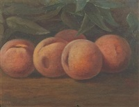 a still life with peaches by nicholas alden brooks