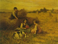 children playing in a hayfield by jacques alsina