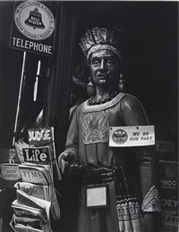 cigar store indian, powell st., san francisco, cal by ansel adams