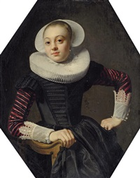 portrait of a lady, in a black dress with red slashed sleeves, lace cuffs and a ruff by thomas de keyser