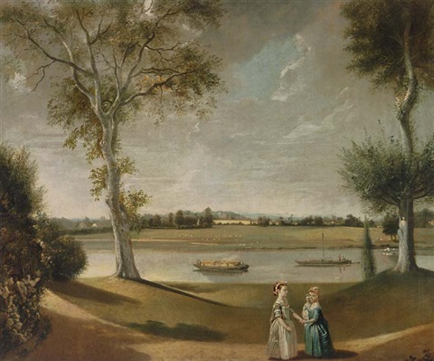the misses garrick by the thames at hampton by johann joseph zoffany