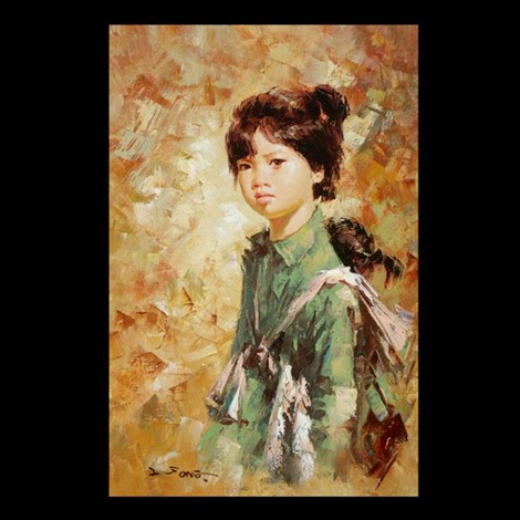 girl with infant on back by lee man fong