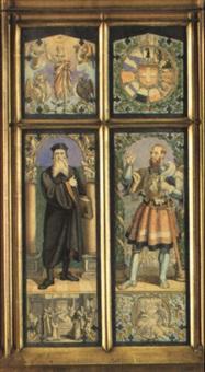 entwurfszeichnung für die glasfenster der elisabethenkirche by hieronymus hess