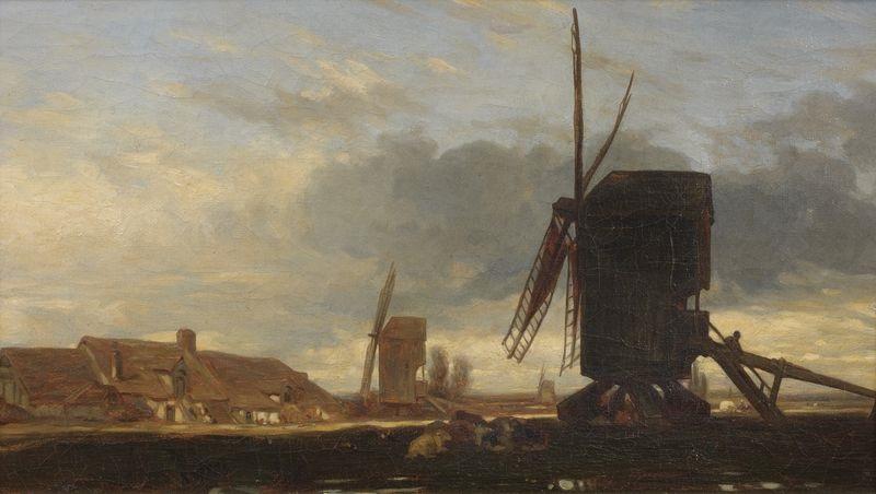 hameau aux moulins a vent by jules dupré