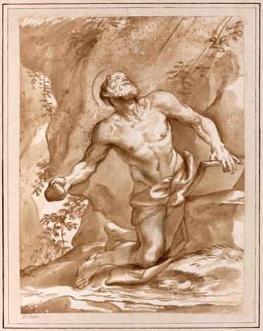 saint jérôme pénitent agenouillé dans un paysage by domenico piola