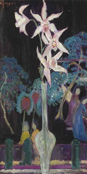 orchids with oriental screen by dorothea m. litzinger