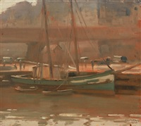 boat at dock by alexander colquhoun