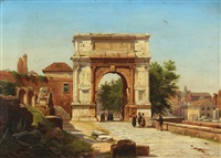 view of rome with figures at the arch of titus by danish school (19)