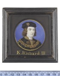 richard iii (1452-1485), the last plantagenet king of england (1483-1485), wearing dark green houppelande edged with brown fur and slashed at the sleeve to reveal brown doublet striped with gold by bernard (goupy) lens iii