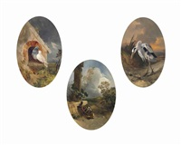 the two pigeons; and the tortoise and the hare; and the heron and the snail (3 works) by philippe rousseau
