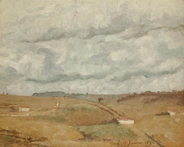 paysage de campagne - nature morte au bouquet (recto-verso) by charles lacoste