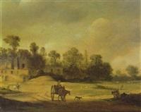 travellers on a path with roman ruins beyond by pieter anthonisz van groenewegen