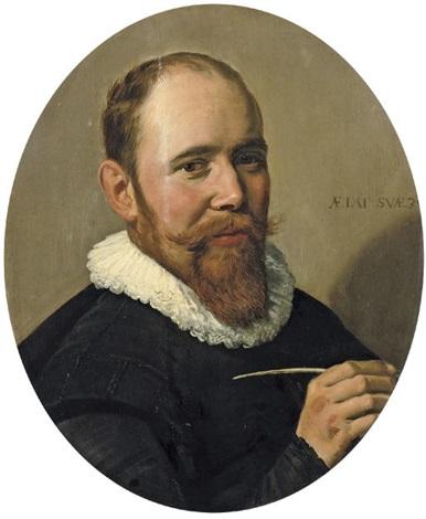 portrait of a gentleman holding a pen (willem warmondt?) by frans hals the elder