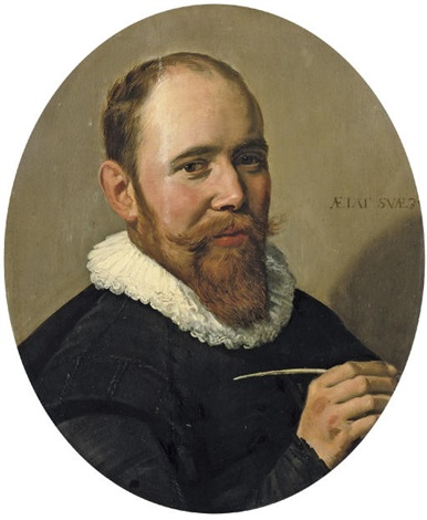 portrait of a gentleman holding a pen willem warmondt by frans hals the elder