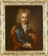 portrait of a young boy, in a blue coat with a red cloak holding a parakeet by william gandy