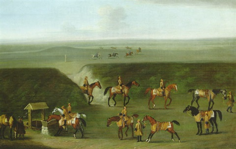 the well gap at newmarket with a string of horses belonging to the duke of devonshire by james seymour