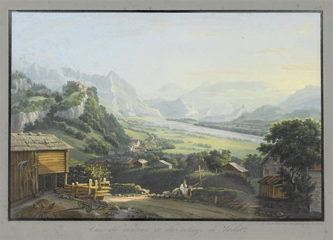vue du château et du village de vadutz by johann ludwig louis bleuler