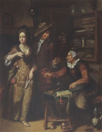 an elegant couple in an interior with a spinster at a table pointing at a contract by hendrik (h.) de valk