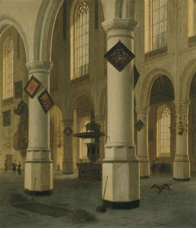 a view of the interior of the oude kerk delft by hendrick cornelisz van der vliet
