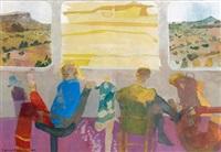 figures on a train (study) by leonard rosoman