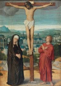 christ en croix entre la vierge et saint jean by adriaen isenbrant