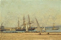 repairing nets at the harbour wall by victor de papelen (papeleu)