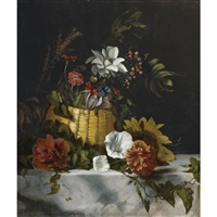 basket of flowers on a marble ledge by dirck de bray