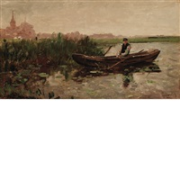 fisherman in the polder, circa by paul joseph constantin gabriël