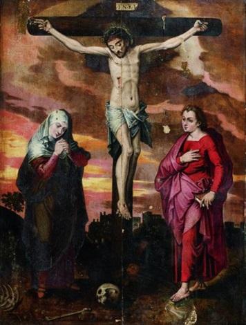 le christ en croix entre la vierge marie et saint jean levangéliste by michiel coxie the elder