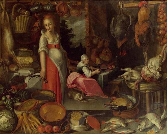 küchenstück mit köchin und küchenmagd by joachim anthonisz wtewael