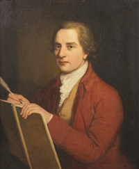 portrait of a man with ledge and quill by nathaniel hone the elder