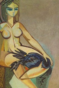 naked lady and a bird by naim ismail