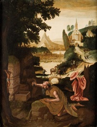 paysage à l'église avec saint jérôme by herri met de bles