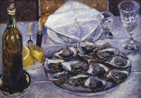 nature morte aux huîtres by gustave caillebotte