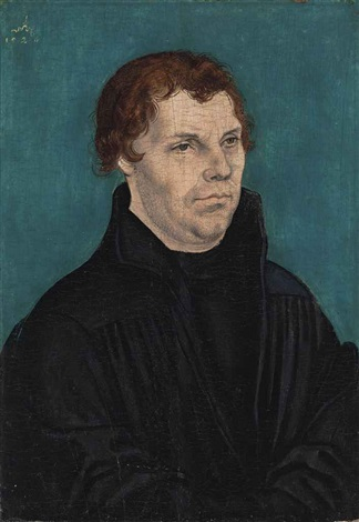 portrait of martin luther 1483 1564 half length in black by lucas cranach the younger