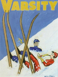 skiers take a tumble, she applies lipstick by jaro fabry